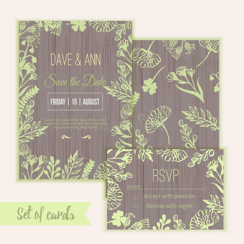 Vector ink watercolor save the date card and rsvp royalty free illustration