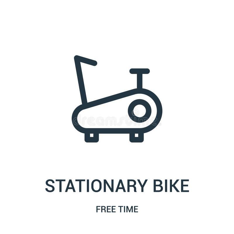 vector inmóvil del icono de la bici de la colección del tiempo libre Línea fina ejemplo inmóvil del vector del icono del esquema  stock de ilustración