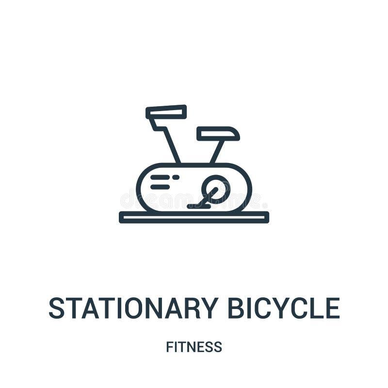 vector inmóvil del icono de la bicicleta de la colección de la aptitud Línea fina ejemplo inmóvil del vector del icono del esquem stock de ilustración
