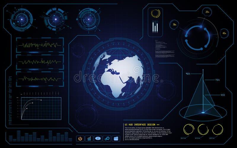 Vector innovatieve het conceptenachtergrond van technologie van de hud ui interface cyber globale stock illustratie
