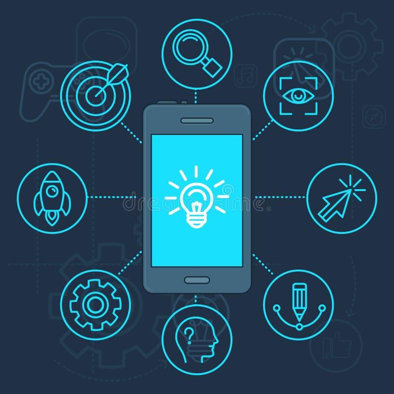 Vector a inovação app na tela do telefone celular ilustração do vetor