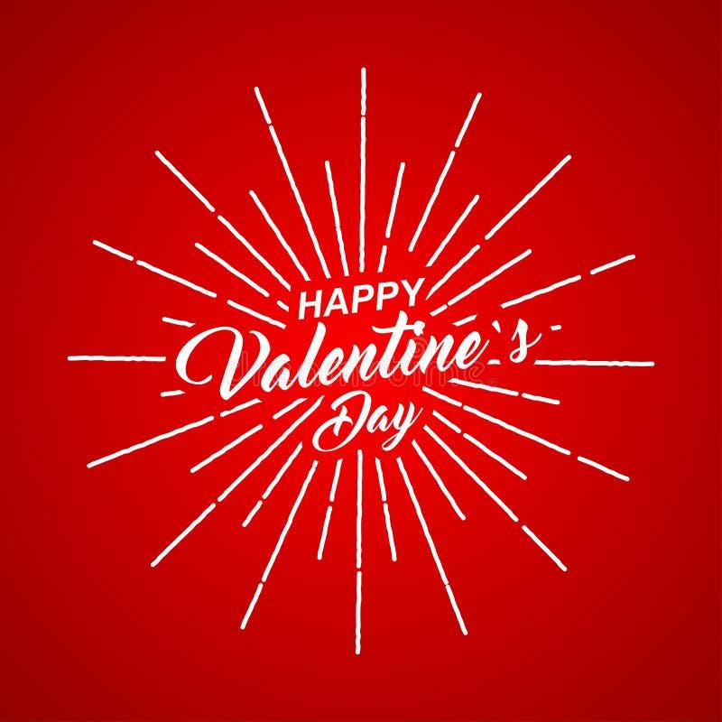 Vector a inscrição feliz do dia de Valentim com raios da explosão no fundo vermelho ilustração do vetor
