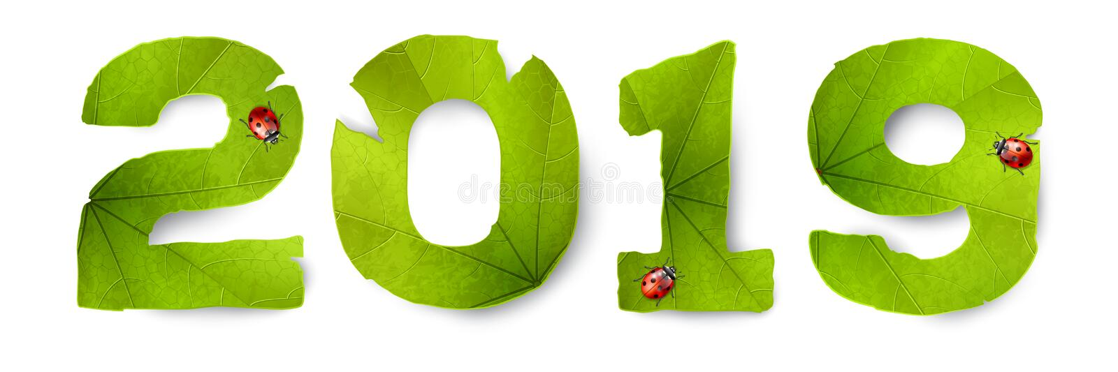 Vector 2019 inscription made from green leaves stock illustration