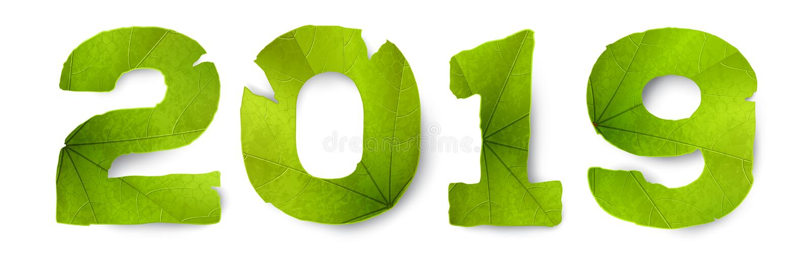 Vector 2019 inscription made from green leaves royalty free illustration
