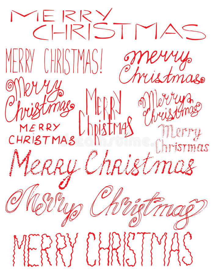 Vector inscription Merry Christmas. Cover title. Drawing by hand. Lettering. The words. Letters. Capital letters. Doodle. Vector inscription Merry Christmas royalty free illustration