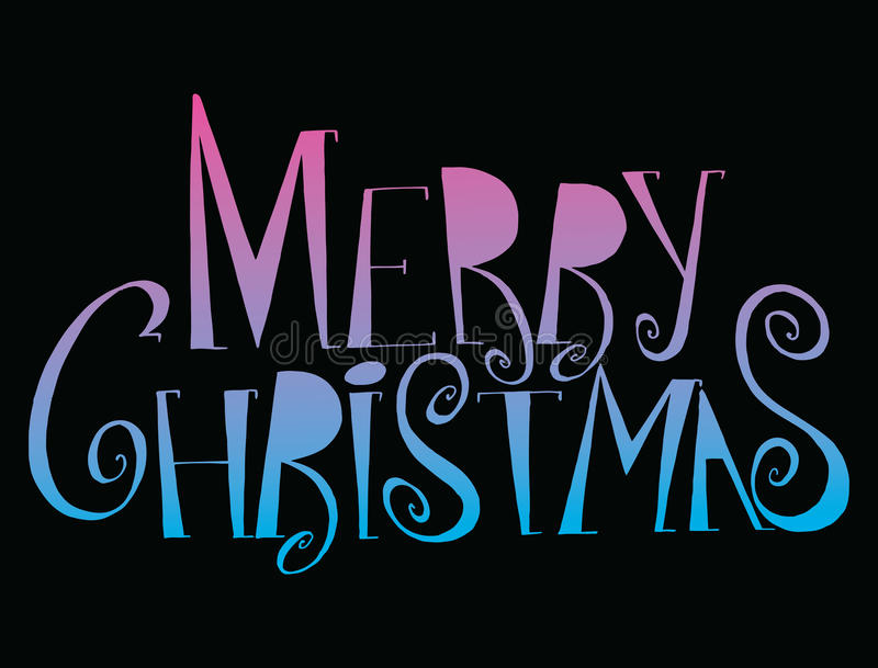 Vector inscription Merry Christmas. Cover title. Drawing by hand. Lettering. The words. Letters. Capital letters. Doodle. Vector inscription Merry Christmas stock illustration