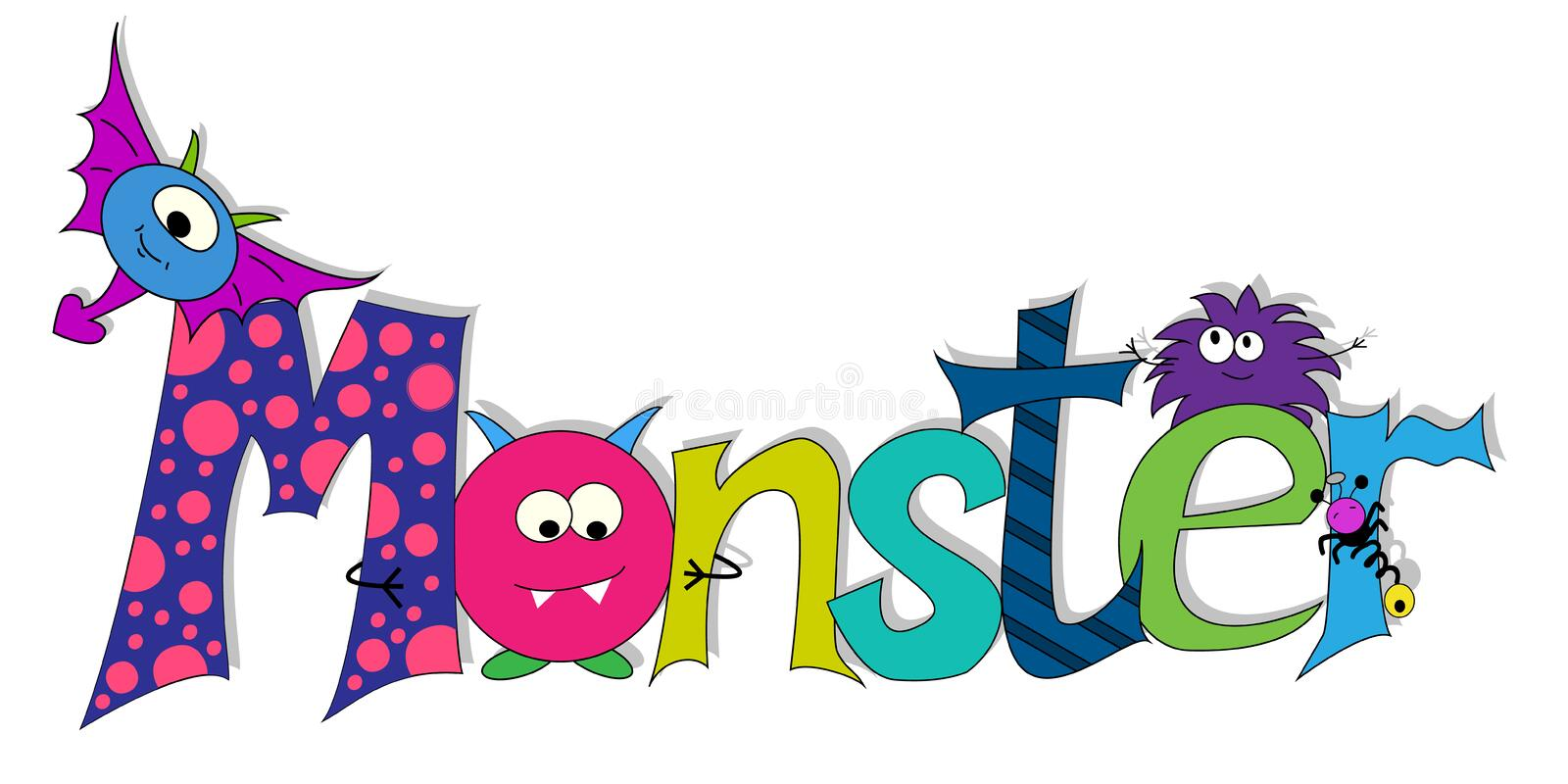 Vector inscription monsters. Cartoon monsters. cards with monsters stock illustration