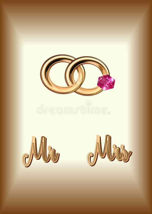 Mr and Mrs. golden letters on a gold background, a pair of wedding rings with a ruby for a wedding, vector illustration