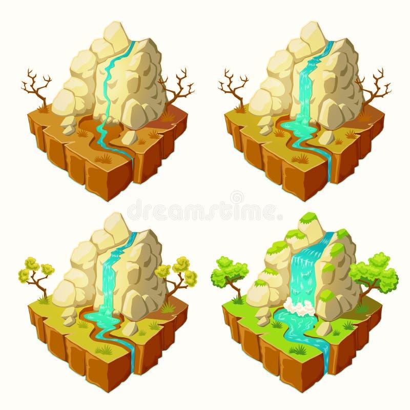 Vector Inseln mit Bergen und einem Wasserfall, Gestaltungselemente für Spiele stock abbildung