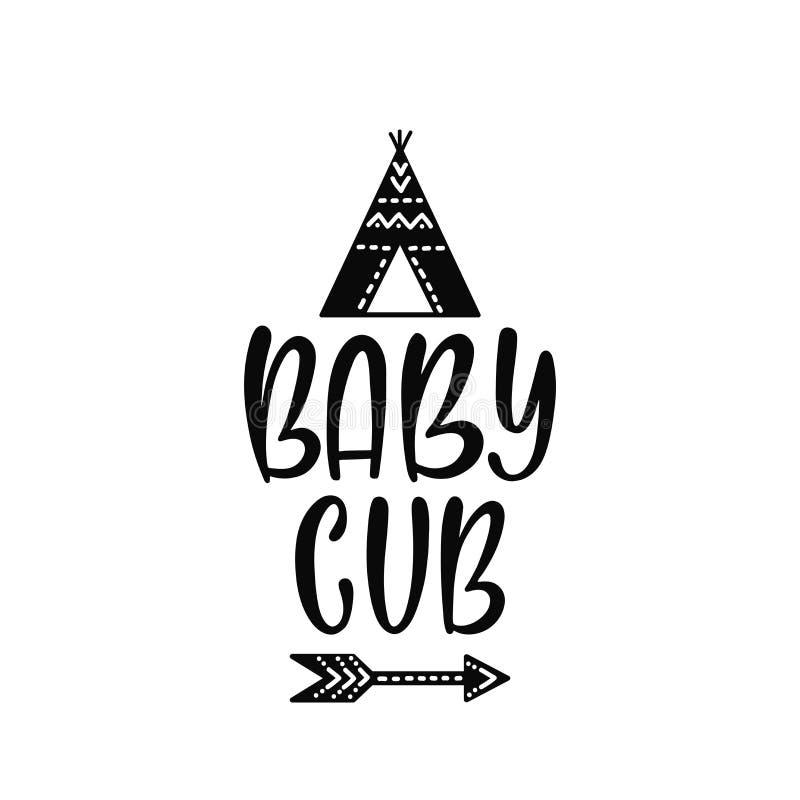 Vector inspirado que pone letras a frase: Babu Cub Cartel exhausto del niño de la mano con la tienda de los indios norteamericano libre illustration