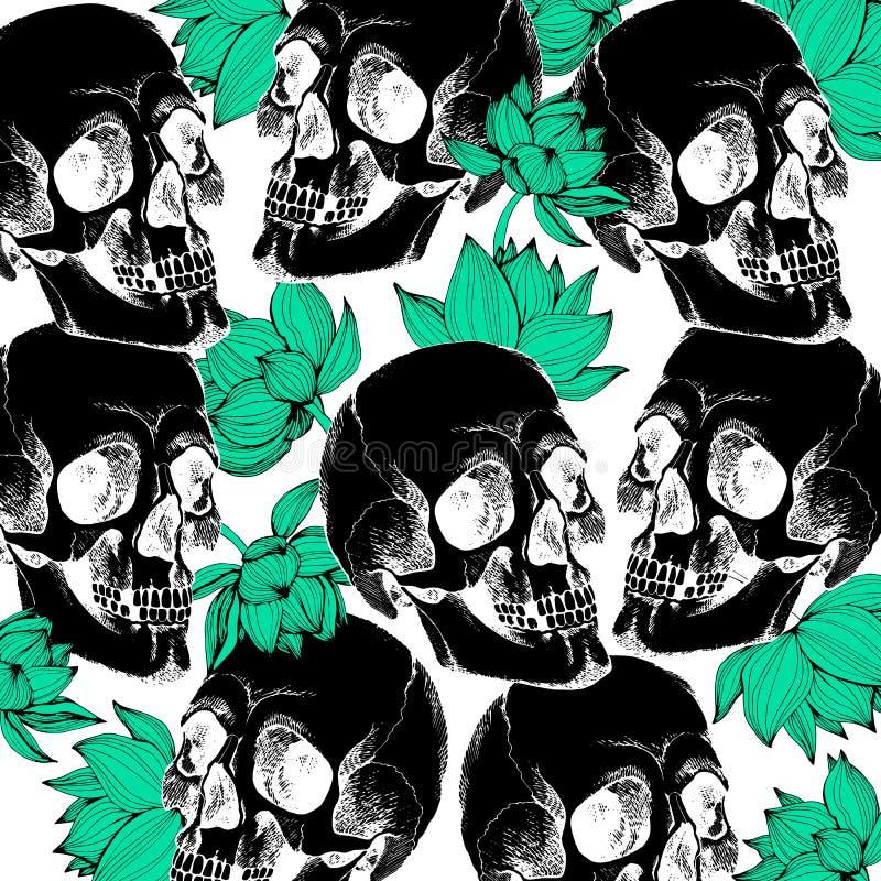 Vector interesante del cráneo con las flores pintado ilustración del vector