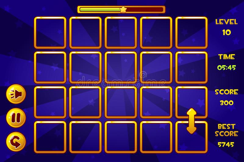 Interface Match3 Games and buttons, game assets. Vector interface Match3 Games and buttons, game assets royalty free illustration