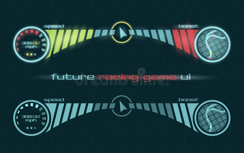 Vector interface of racing game dashboard. Vector futuristic interface of racing game dashboard royalty free illustration