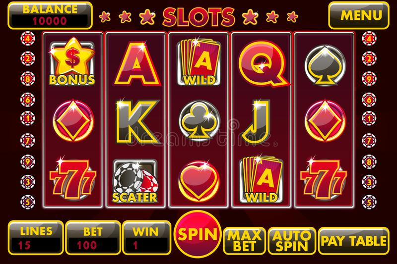 Vector Interface slot machine in black-red colored. Complete menu of graphical user interface and full set of buttons. For classic casino games creation. Casual stock illustration
