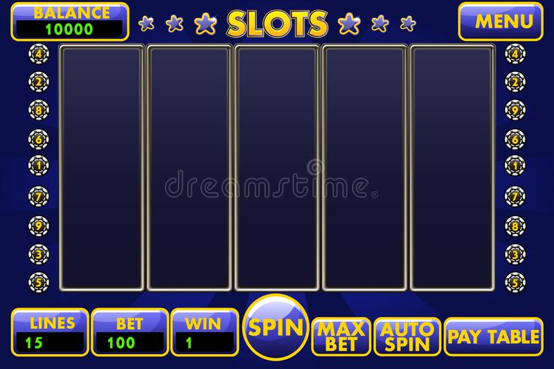 Vector Interface slot machine in blue colored. Complete menu of graphical user interface and full set of buttons for. Classic casino games creation. Casual Game stock illustration