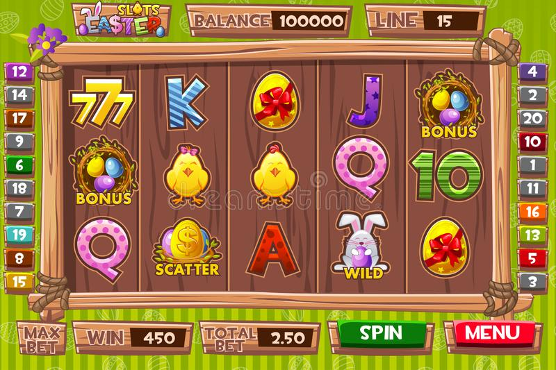 Vector Interface slot machine in cartoon wooden style for Easter holiday. Complete menu of graphical user interface and and full. Complete menu of graphical user royalty free illustration