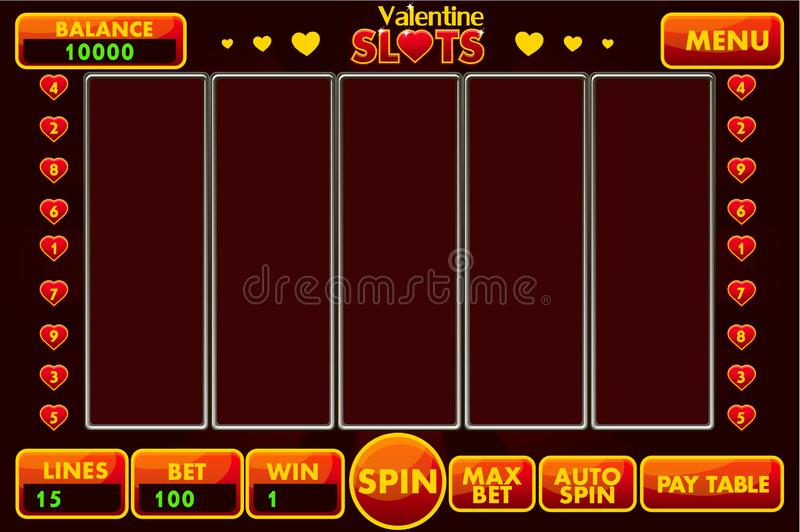 Vector Interface slot machine style St.Valentine in red colored. Complete menu of graphical user interface and full set of buttons. For classic casino games royalty free illustration
