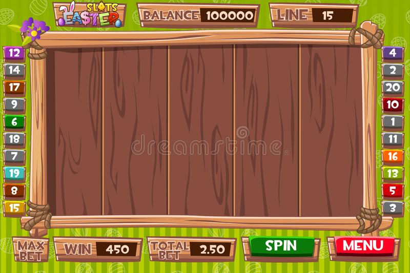 Vector Interface slot machine in wooden style for Easter holiday. Complete menu of graphical user interface and full set of stock illustration