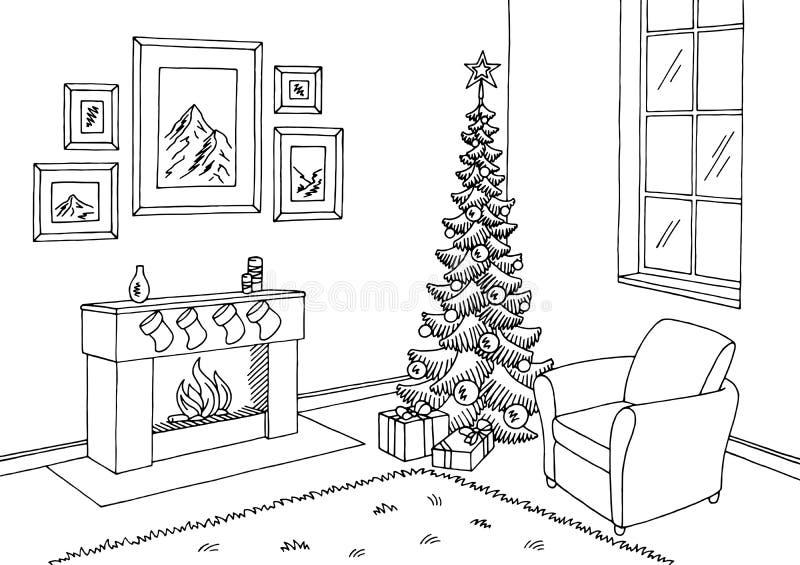 Vector interior blanco del ejemplo del bosquejo del negro gráfico del árbol de navidad de la sala de estar ilustración del vector
