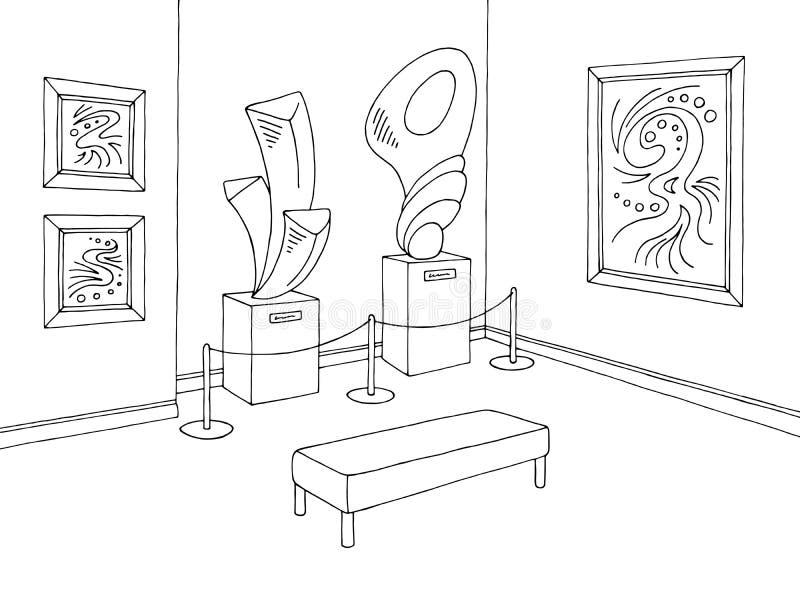 Vector interior blanco negro gráfico del ejemplo del bosquejo del museo libre illustration