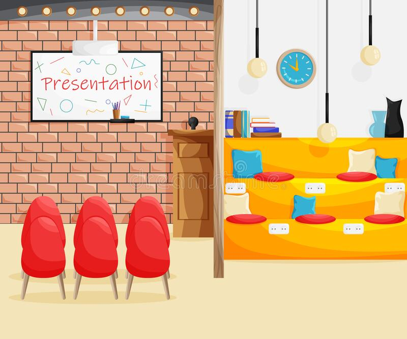 Vector Interior of coworking space with two areas. In cartoon flat style. Concept design of co-working place with one zone for group meeting and presentation stock illustration