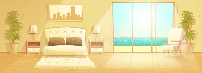 Vector interior de la historieta del sitio de lujo del hotel turístico libre illustration