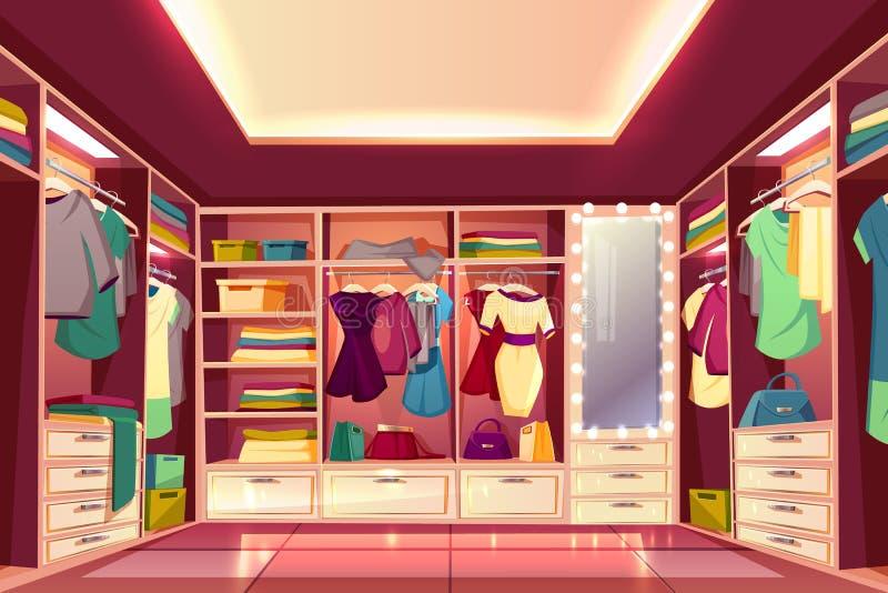 Vector interior de la historieta del vestidor de la mujer ilustración del vector