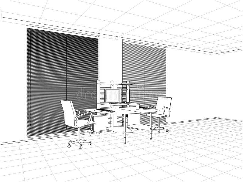 Vector interior de los cuartos de la oficina stock de ilustración