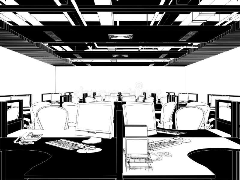 Vector interior de los cuartos de la oficina ilustración del vector