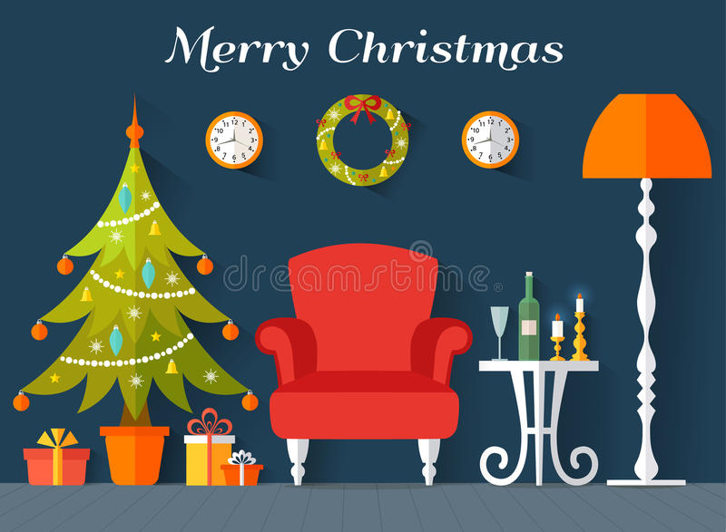 Vector interior decorated for Christmas and New Year. stock illustration