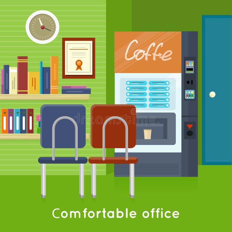 Vector interior del concepto de la oficina en diseño plano stock de ilustración