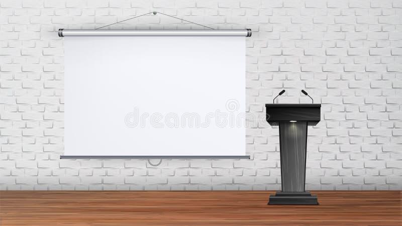 Vector interior del sitio de conferencia de la universidad o de la escuela stock de ilustración