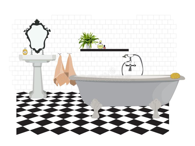 Vector interior design illustration. bathroom toilet elements. bath sink mirror towels. flooring floor tiles. stock illustration