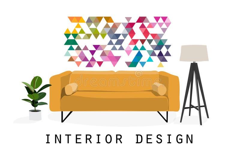 Vector interior design sketch illustration. living room furniture. mid century modern. stock illustration