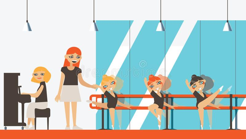 Vector interior in flat style with little ballerinas, teacher and musician playing piano. Ballet dancing studio with dance barre royalty free illustration