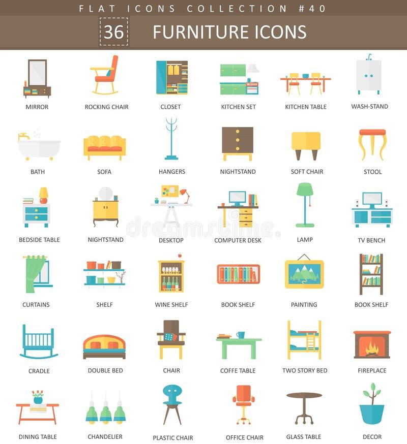 Vector interior Furniture color flat icon set. Elegant style design. Vector interior Furniture color flat icon set. Elegant style design stock illustration