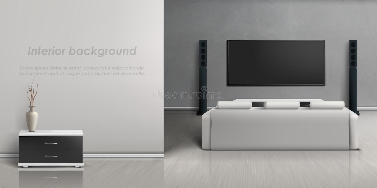 Vector interior mockup with home theater system vector illustration