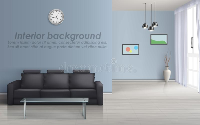 Vector interior mockup of living room with sofa royalty free illustration