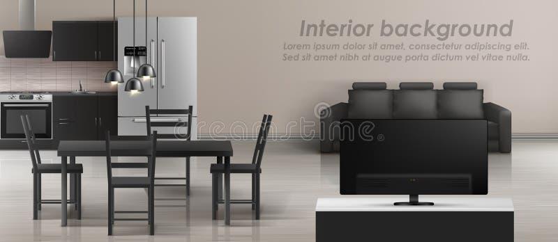Vector interior mockup of studio apartment. Vector mockup of studio apartment with living room and kitchen. Modern interior with furniture, black sofa, tv, table vector illustration