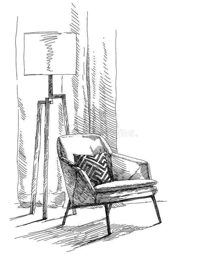 Vector interior moderno del dibujo de la mano ilustración del vector