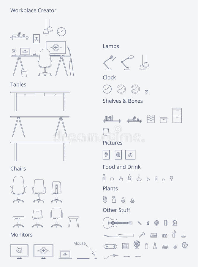 Vector Interior Workspace Generator royalty free illustration