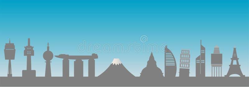 Vector internacional de la silueta del horizonte de la ciudad libre illustration