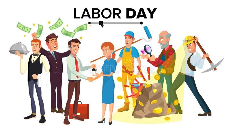 Vector internacional del Día del Trabajo La gente agrupa diverso sistema del empleo Ejemplo aislado del personaje de dibujos anim stock de ilustración