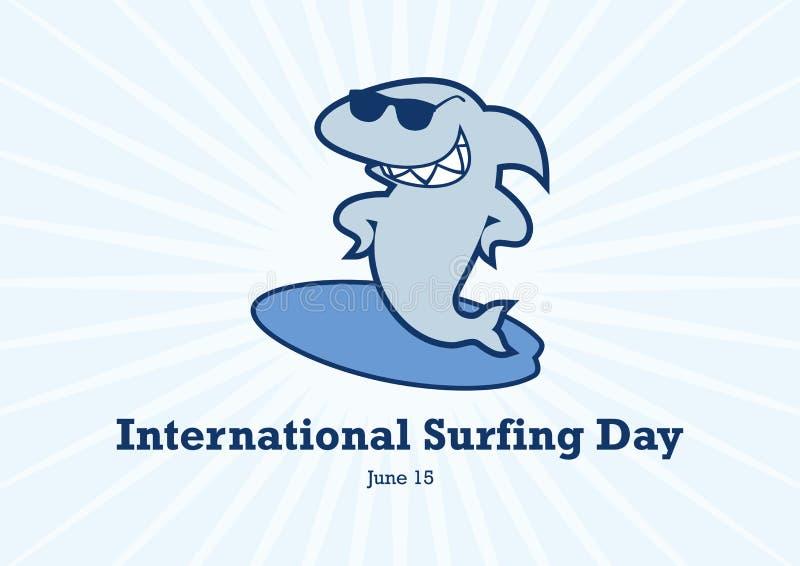 Vector internacional del d?a que practica surf ilustración del vector