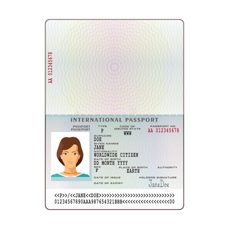 Vector internationaal paspoortmalplaatje met de pagina van steekproef persoonsgegevens royalty-vrije illustratie