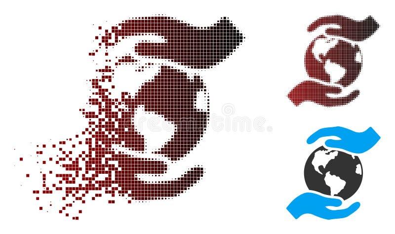 Damaged Pixel Halftone International Care Icon stock illustration