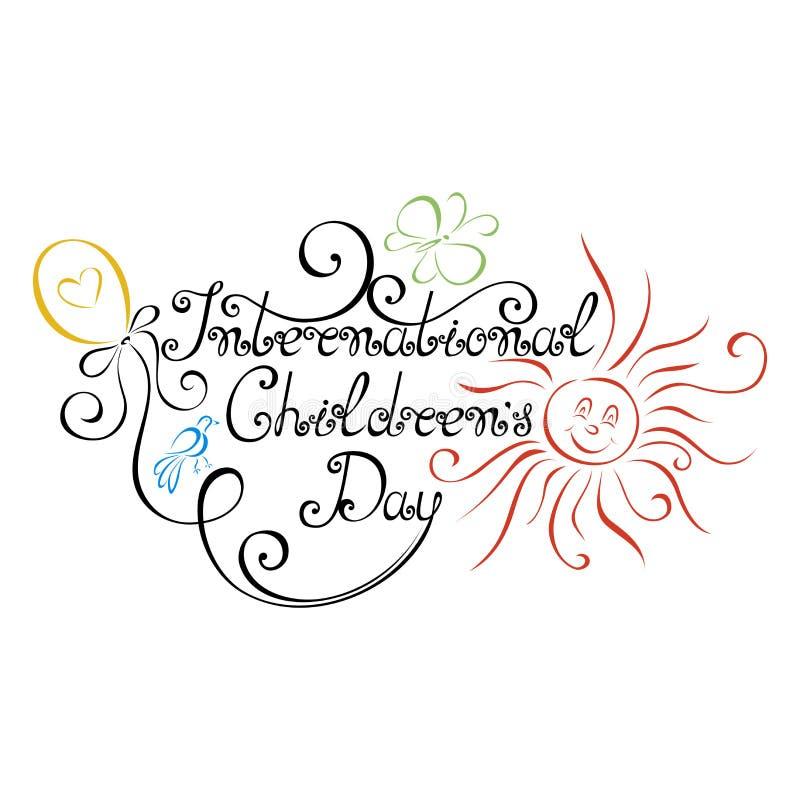 Vector International Children's Day Inscription vector illustration