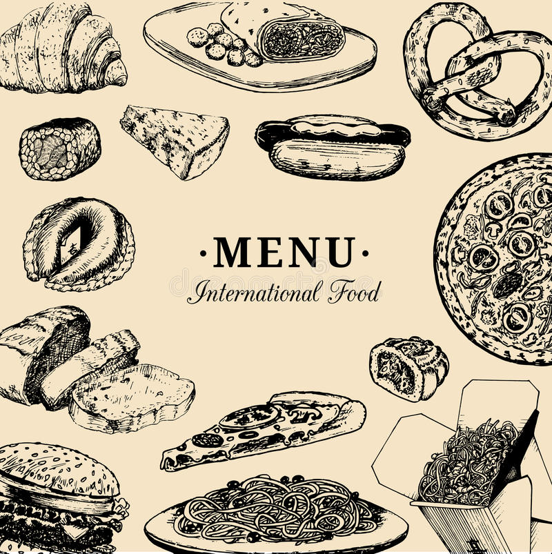 Vector international food menu.Fusion cuisine carte.Vintage hand drawn quick meals collection.Fast-food restaurant icons stock illustration
