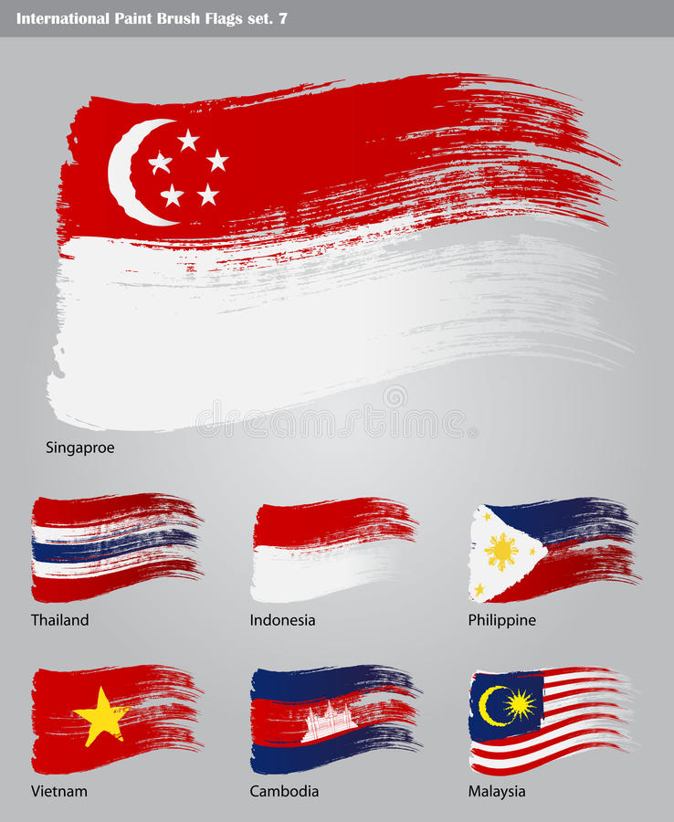 Download Vector International Paint Brush Flags Stock Illustration - Illustration of continent, indonesia: 27865412