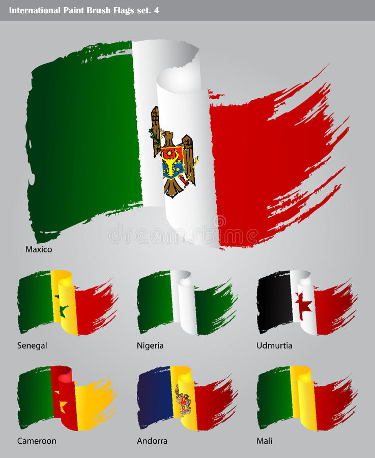 Download Vector International Paint Brush Flags Stock Illustration - Image: 27865486